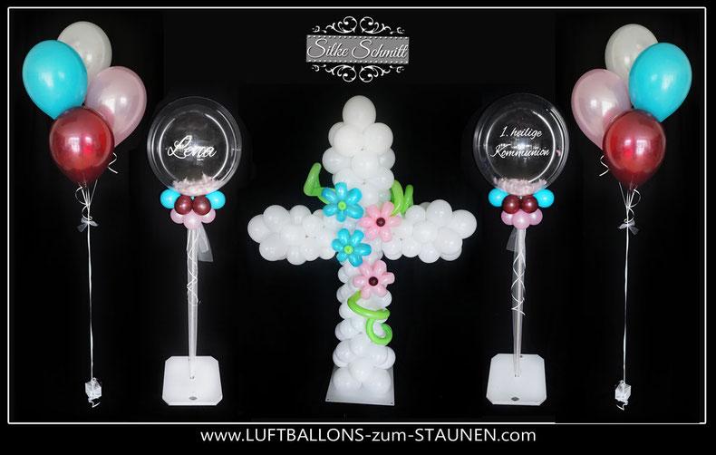 Kommunion Taufe Name Luftballon Ballon Dekoration Bubble exklusiv besonders Hingucker Eyecatcher edel Bouquet Kreuz Kommunionkreuz Ständer