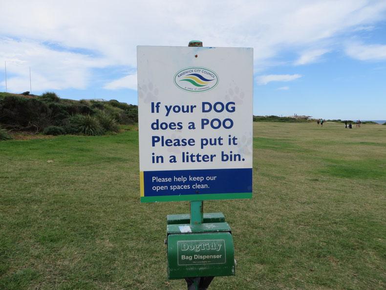 Wenn dein Hund Häufchen macht, dann werfe diese bitte in die Mülltonne...