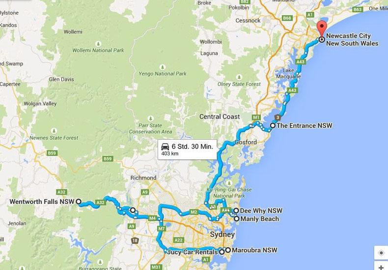 Die ersten Kilometer mit dem Camper (Quelle: Google Maps)