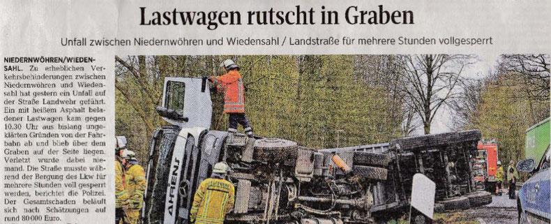 Schon wieder verunglückte ein LKW der Firma Ahrens.