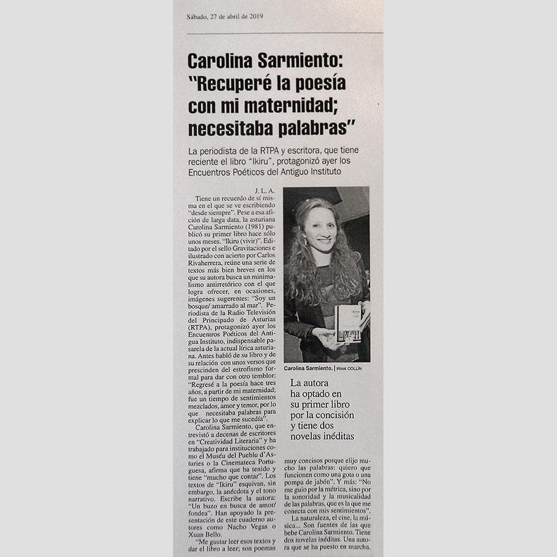 Ikiru - Carolina Sarmiento - José Luis Argüelles - La Nueva España