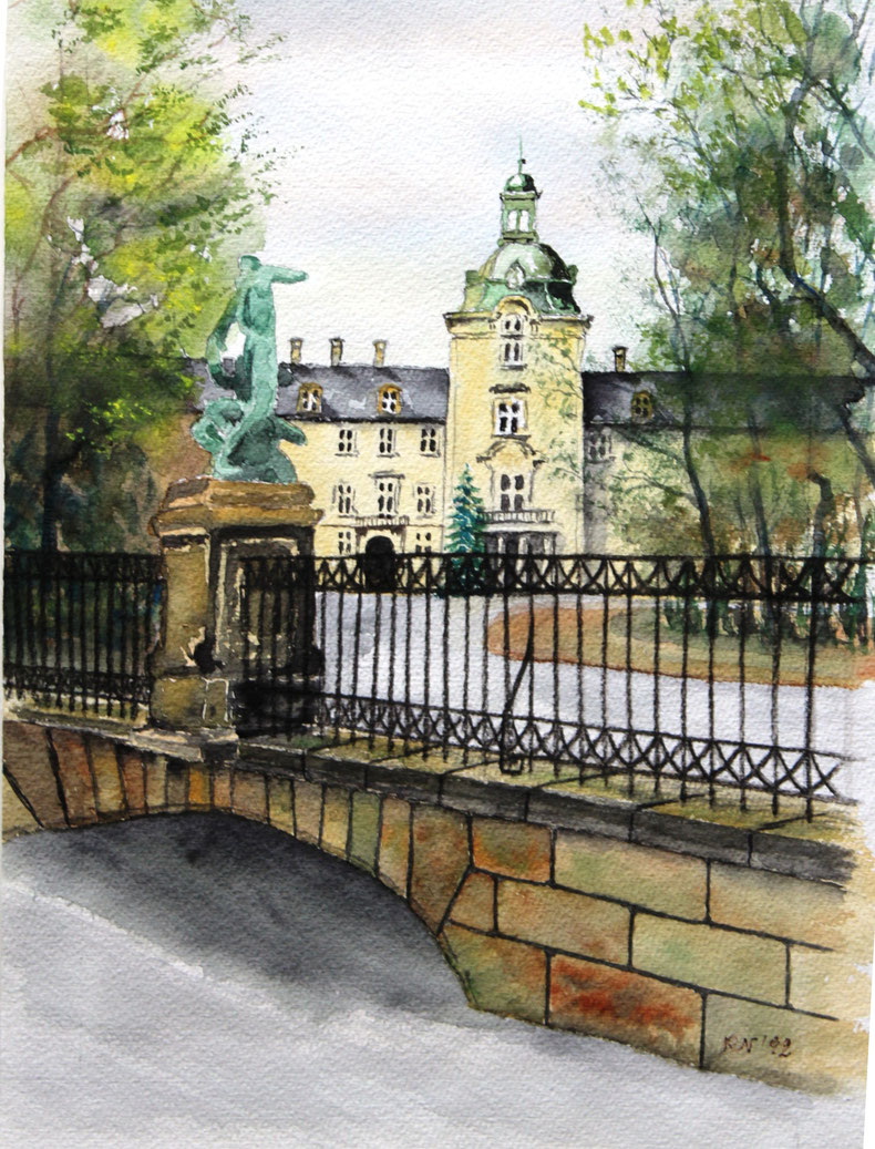 Schlossbrücke Bückeburg - Aquarell 30 x 40 cm