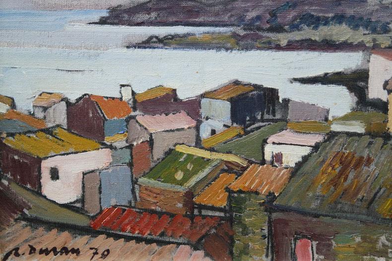 te_koop_aangeboden_een_stadsgezicht_van_de_spaanse_kunstschilder_rafael_duran_benet_1931-2015