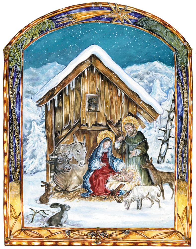 """Krippe im Schnee Illustration Caroline Ronnefeldt aus """"Hausbuch für den Advent"""" ars Edition, 2014."""