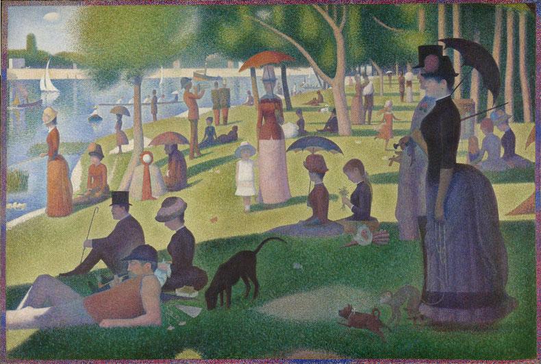 """G. Seurat,  """"Una domenica pomeriggio sull'isola della Grande-Jatte"""" (1883-1885)"""