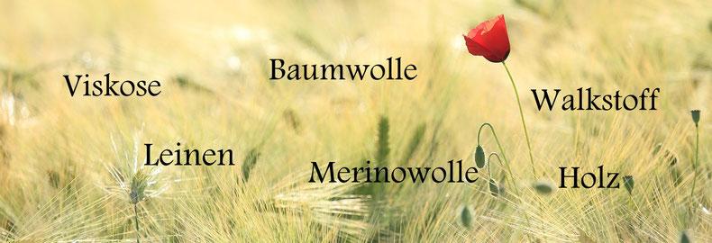 die Materialien: Leinen Viskose Holz Walkstoff Merinowolle Baumwolle bei Naturmoden Popielas