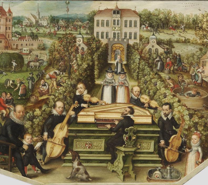 """Musik-""""Kräntzlein"""" vermutlich im Garten der Patrizierfamilie Behaim mit Johann Staden am Spinett"""