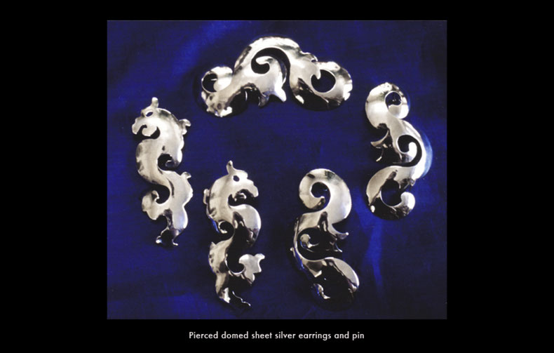 Pierced domed sheet silver dragon and foliage earrings and pin