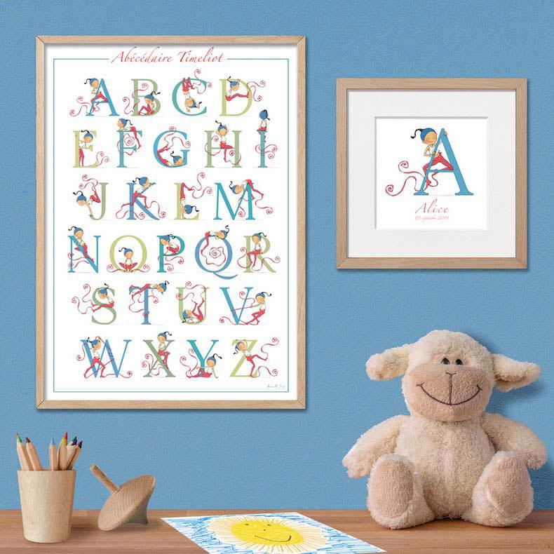 decoration chambre enfant Armelle Boy, poster abecedaire Timeliot et cadeau de naissance