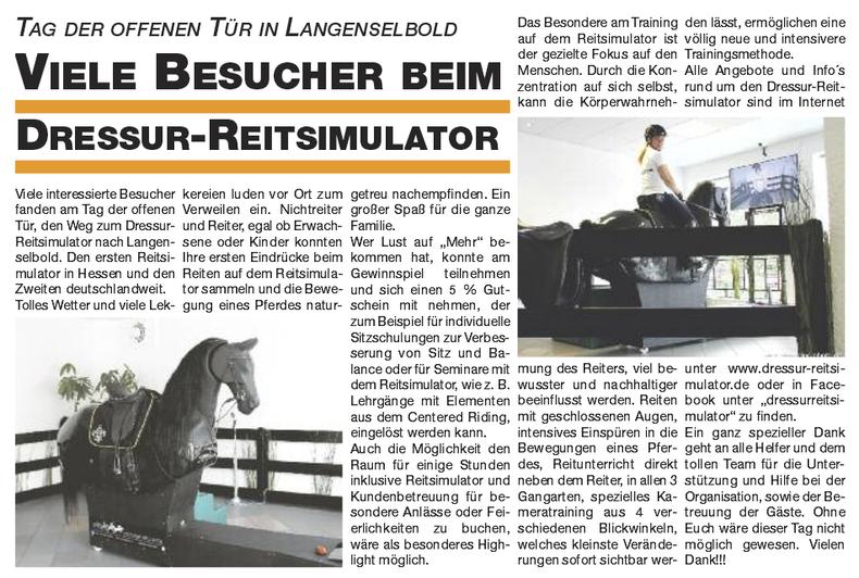 Zeitungsartikel in der Pferde Rhein-Main in der Novemberausgabe, Besucher beim Dressur Reitsimulator