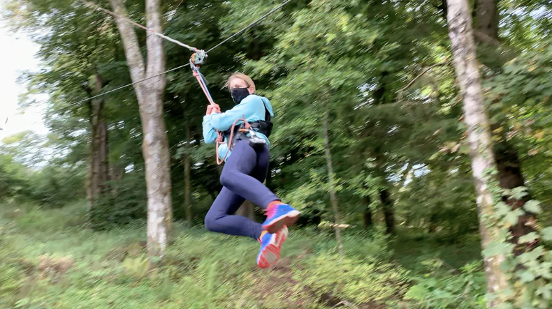 Coming into land. The end of my final zipline on the treetop course at Loch Lomond.