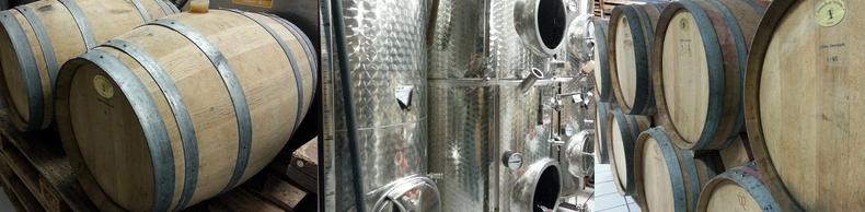 Die Weine vom Weingut Reinhold Riske werden im Edelstahltank und Barriques ausgebaut. Spirituosen sogar in ganz kleinen 100 Liter Eichenfässer.