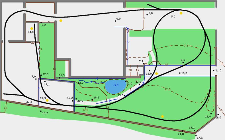 Topografischer Gleisplan meiner Gartenbahn 5 Zoll