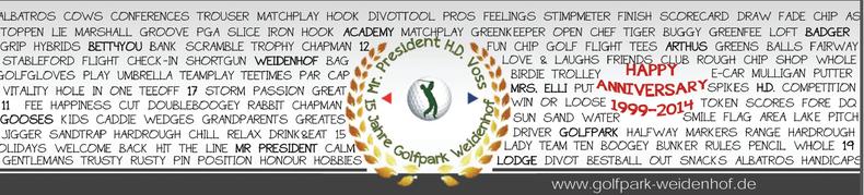 Beispieletikett für ein 15. Firmenjubiläum eines Golfclubs