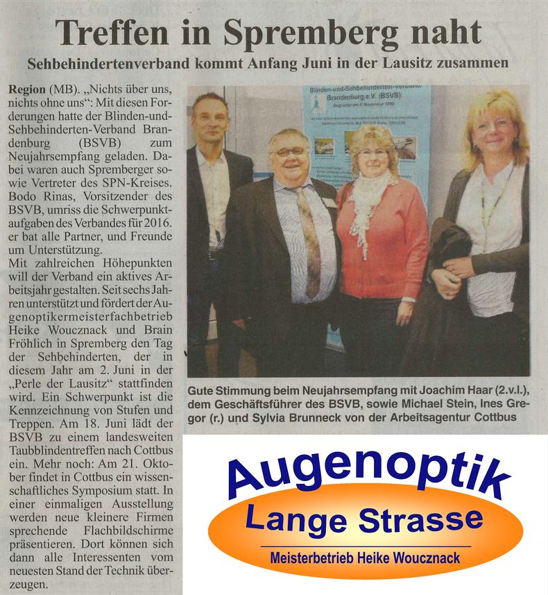 Sehbehindertenverband kommt Anfang Juni in der Lausitz zusammen, Joachim Haar, Michael Stein, Ines Gregor, Sylvia Brunneck, 02.06.2016 Augenoptik Spremberg