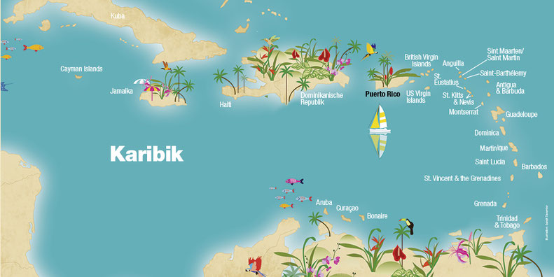Landkarte Puerto Rico, Karibik, Karibische Inseln