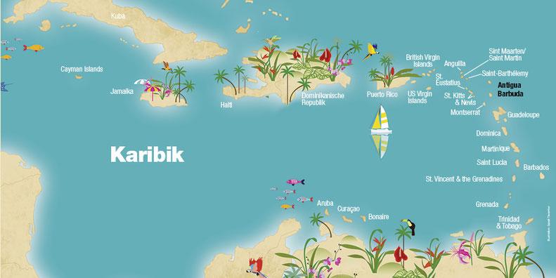 Landkarte Antigua & Barbuda Karibik, Karibische Inseln