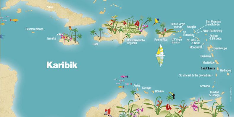 Landkarte Saint Lucia, Karibik, Karibische Inseln