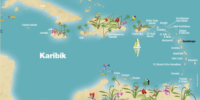 Landkarte Guadeloupe, Karibische Inseln, Karibik