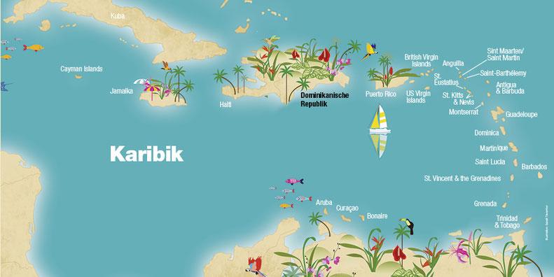 Landkarte Dominikanische Republik, Karibische Inseln, Karibik