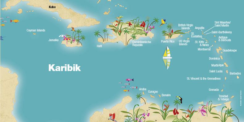 Landkarte Kuba, Karibik, Karibische Inseln