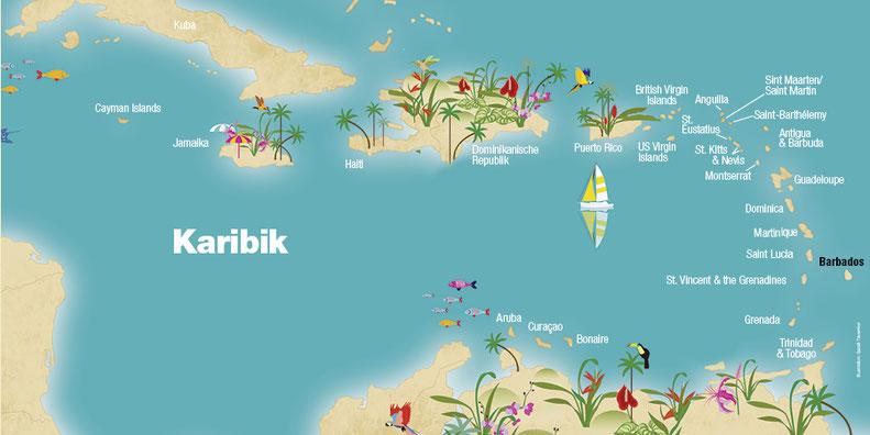 Barbados, Landkarte, Karibik, Karibische Inseln