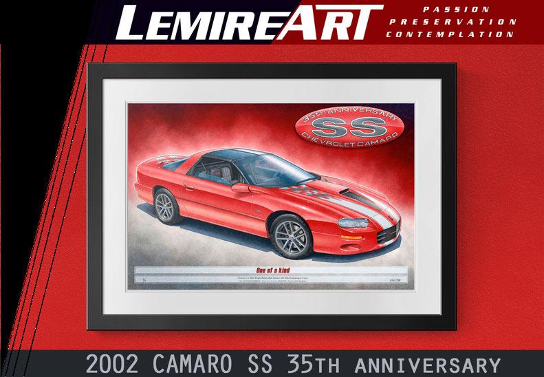 The 2002 Camaro SS 35th Anniversary drawn portrait by Alain Lemire