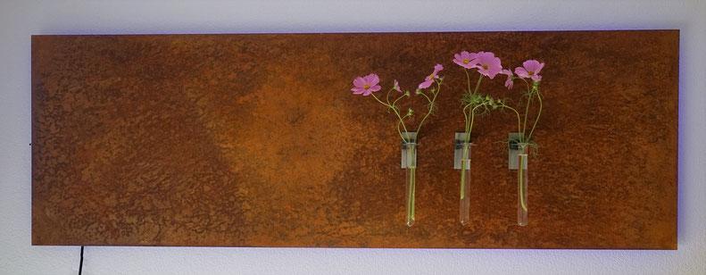Edelrost Magnet-Tafel mit LED Beleuchtung