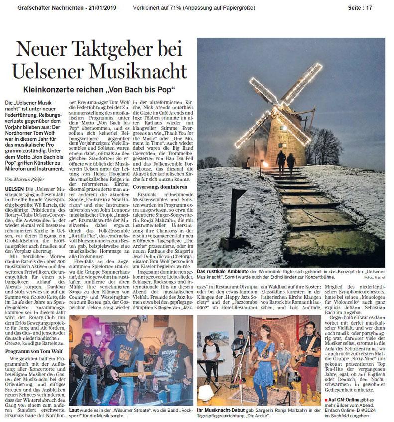 Zeitungsartikel Uelsener Musiknacht Ronja Maltzahn Tom Wolf Rocksport