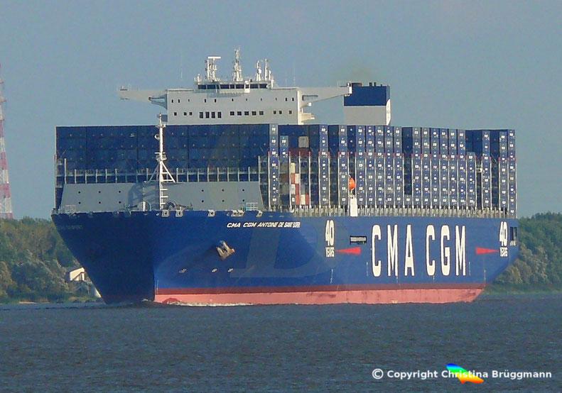 CMA CGM ANTOINE DE SAINT EXUPERY, 40 Jahre CMA CGM, Elbe 01.09.2018