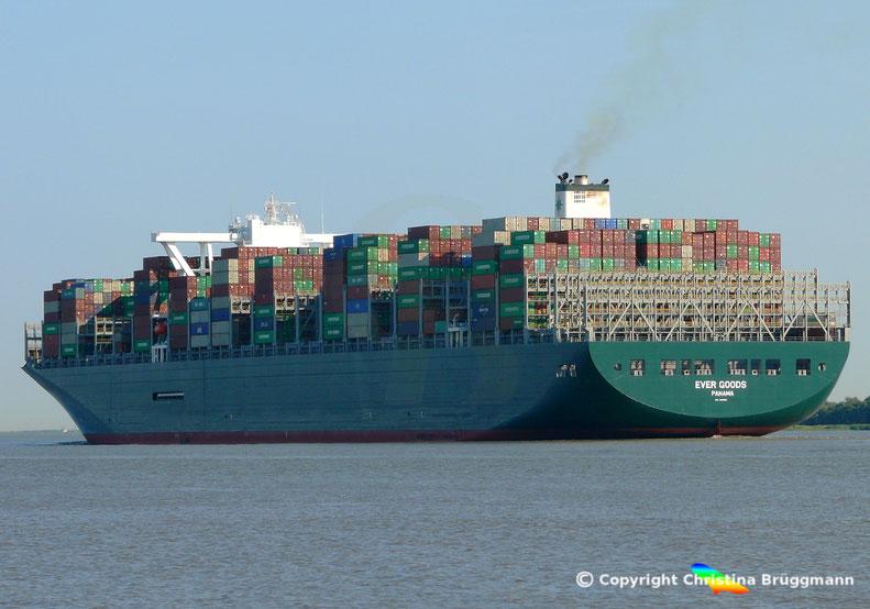 Erstanlauf Hamburg Containerschiff EVER GOODS,  Elbe 17.07.2018