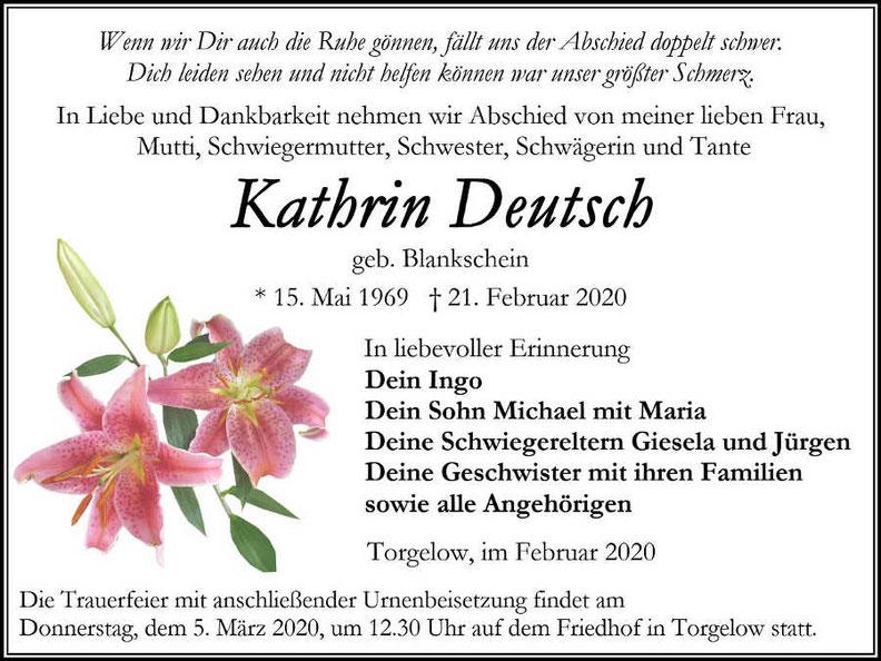Traueranzeige-Kathrin Deutsch-Torgelow-Bestatter Focke-Beisetzung Urne 5. März 2020