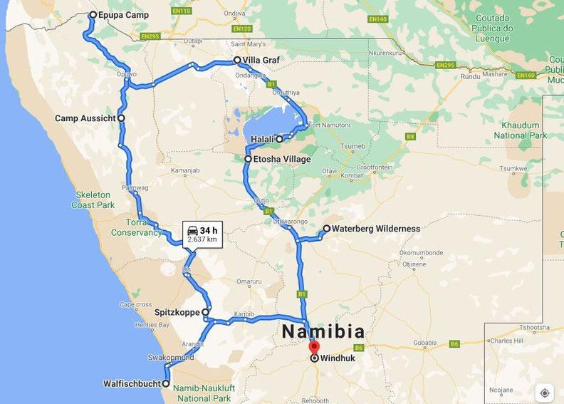 Route für einen Namibia-Roadtrip