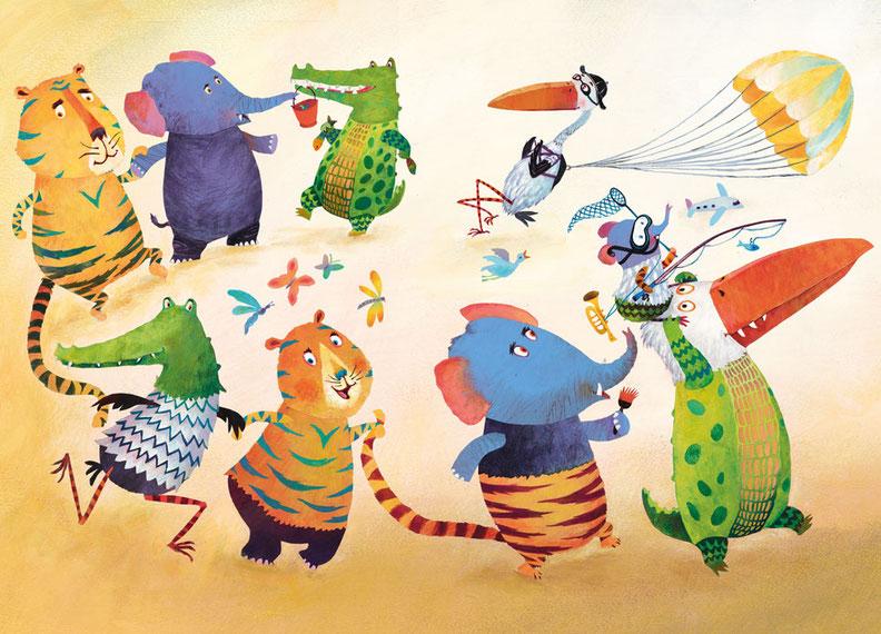 Behang Kinderkamer Zebra : Dancing animals behangopmaat