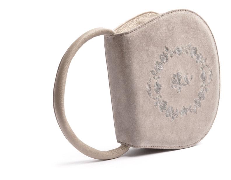 Dirndltasche Trachtentasche grau versandkostenfrei . Kreuzstich . Ledermanufaktur OWA