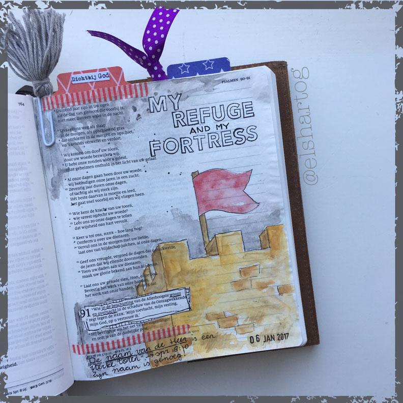 Voorbeeld biblejournaling Psalm 91:1-2