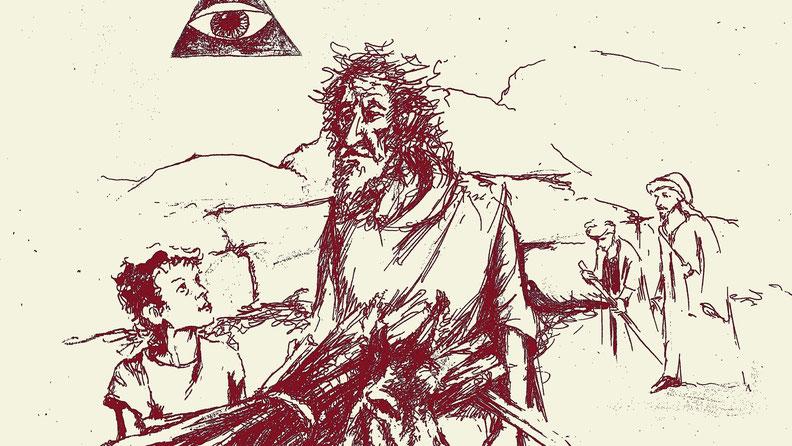 Abraham und Isaak, Zeichnung von Yv Mär