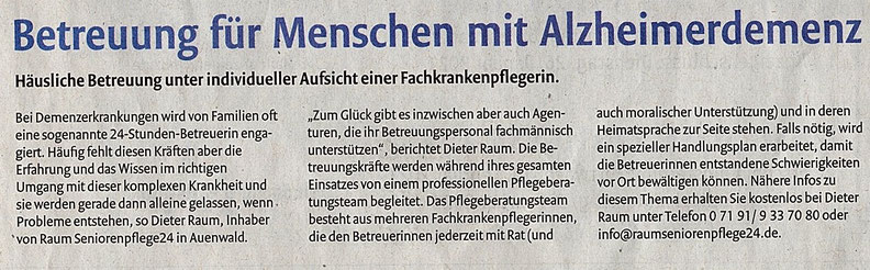 Backnanger Kreiszeitung berichtet über RAUM Seniorenpflege24 im Januar 2021