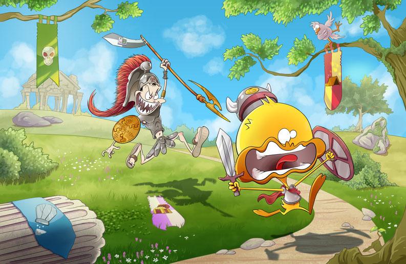 Rencontre entre Boo Tchou et Arès, dieu de la guerre. Disponible sur Tipeee, datée et signée par Skyjoe.
