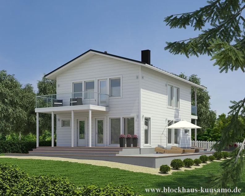 Blockhaus als Stadtvilla  auf zwei Ebenen - Wohnblockhaus, Fachzeitschriften, Grundstück, Zertifikate, Awards, Blockhausvilla, Architektenhaus, Haus, Hausplanung