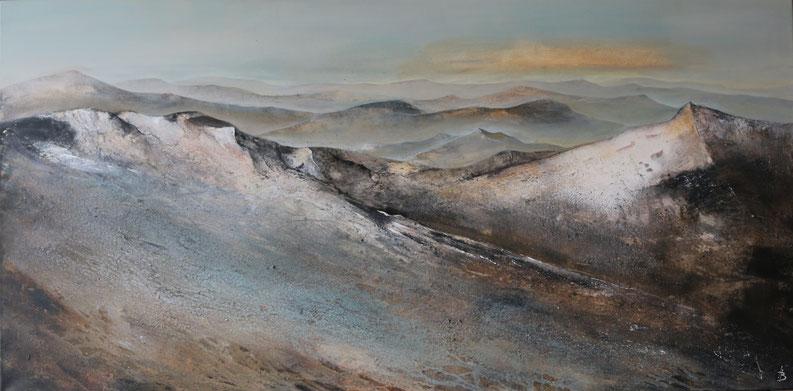 Ingrid Behringer, Berge, Landschaft, Mischtechnik