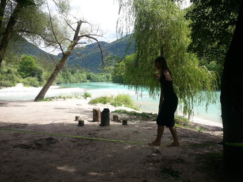 Living in Slovenia - Slacklining at Sotocje, Tolmin
