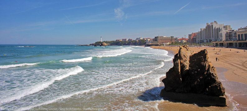 Biarritz et sa grande plage baignée par le soleil