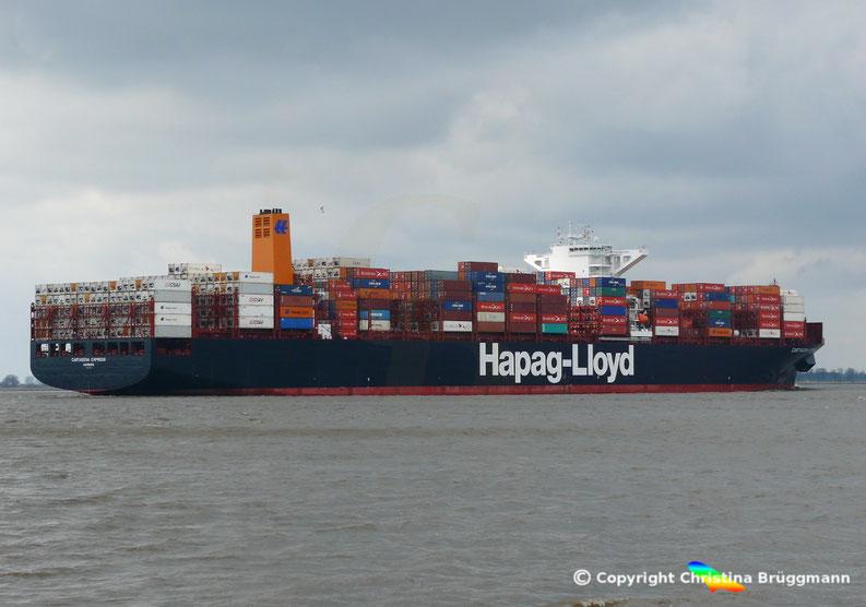 """Hapag-Lloyd Containerschiff """"CARTAGENA"""" auf der Elbe 05.03.2017"""