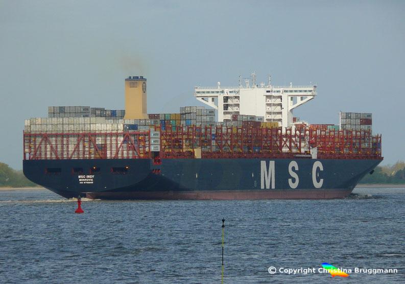 Containerschiff MSC INGY auf der Elbe 23.04.2017