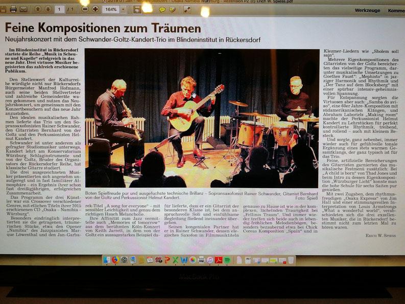 Zeitungskritik Konzert am 12.1.2019 in Rückersdorf