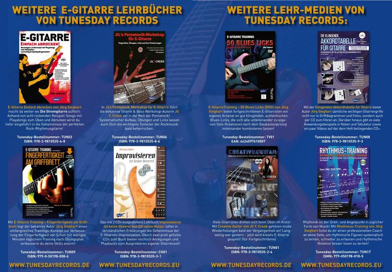 E-Gitarren-Lehrbücher vom Tunesday Records Musikverlag - zum Vergrößern bitte anklicken!