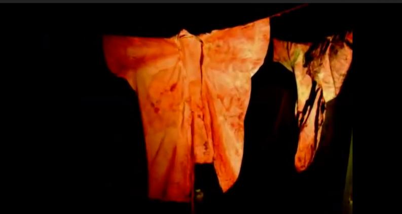 暗闇に突如あらわれる吊るされた着物。捕らわれた蝶、捕らわれた娼婦のメタファーだろうか。