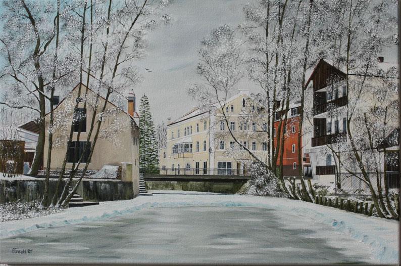 Nr. 188  Das Ölgemälde zeigt die Dorfener Isen bei der Soafabrücke. Format 60x40cm. Es ist mit Ölfarben auf Leinwand gemalt.