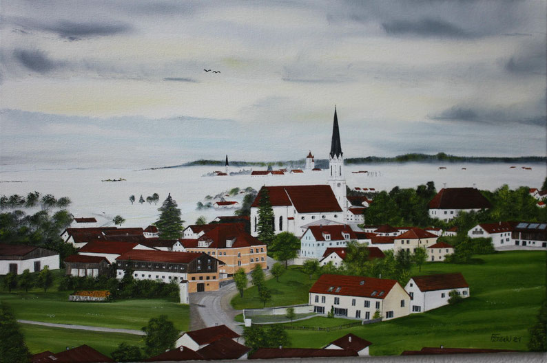 Nr.189 Das Ölgemälde auf Leinwand zeigt einen Blick von Asen über Kirchdorf auf das im Nebel liegende Haag. Format 60x40cm